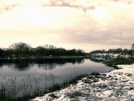 River landscape, sepia mode
