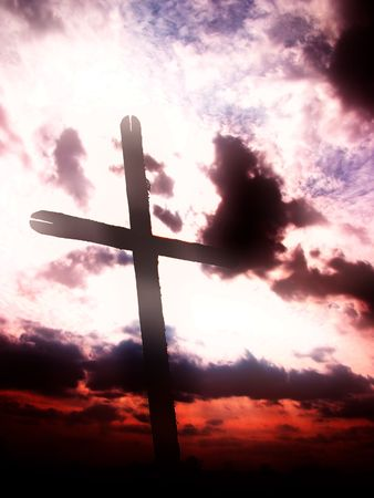 Cross in sky, sunset Stock Photo