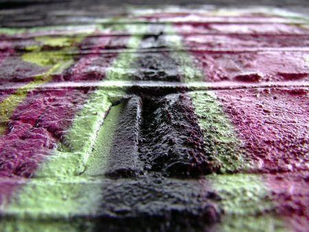 vandal: Graffiti detail - pink & black bricks