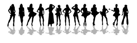 silhouetted: women silhouetted drawn in sexy poses on white