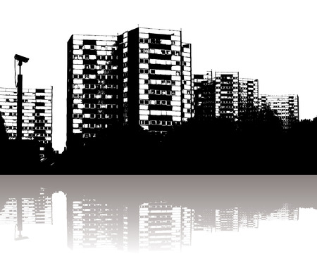 Illustration of a city skyline with reflection in black and white Stock Vector - 1535742