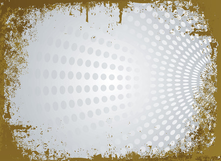 raged: silver and gold modern parchment with raged edges and a circular background design Illustration