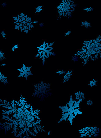nights: Illustration of snowflake falling in a nights sky lite to give a sense of perspective Illustration