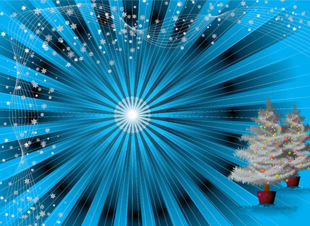 tree trimming: illustration of a christmas background on a radiating blue background Stock Photo