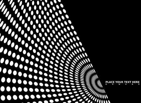 elipse: Black and white mono background with radiating circles that have been distorted Illustration