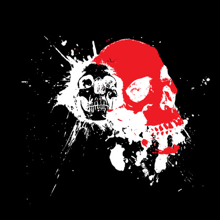 terrifying: halloween skulls in an abstract white blood splat on a black background Illustration