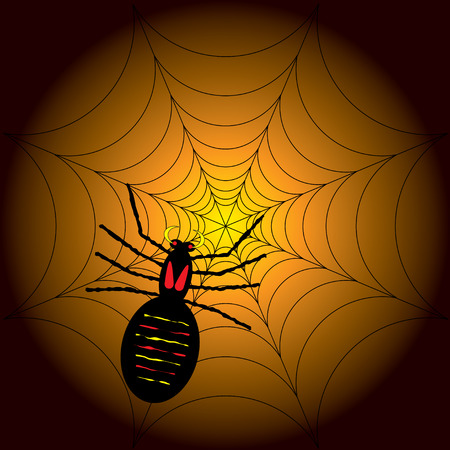 poisonous substances: illustration of a halloween spider on its web with a orange and black background Illustration