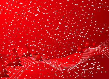 christmas background in red and black with snow and rolling snowy hills Vector