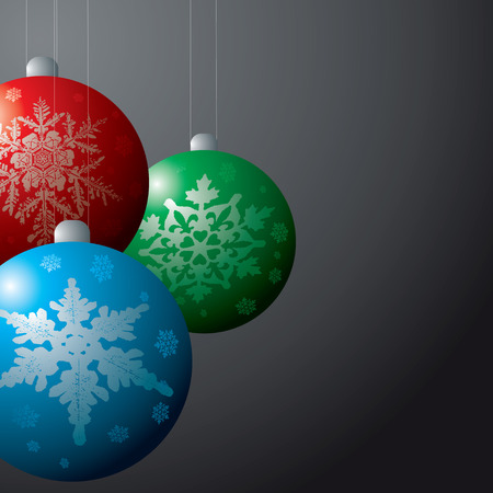 christmas decorations baubles in red green and blue on a black background Illustration