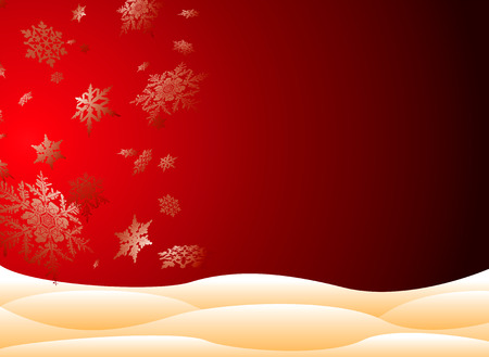 christmas room: christmas scene with large snowflakes and drifting snow banks on a red and black gradient background with room for your own xmas message Illustration