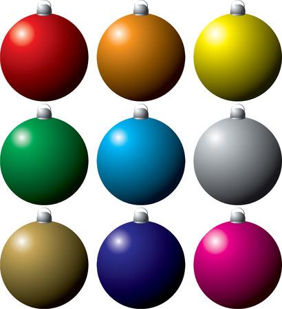 red sphere: coloratissima collezione di decorazioni natalizie in nove colori diversi  Vettoriali