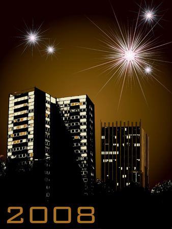 new year celebrations for 2008 with business and urban buildings in the foreround Vector