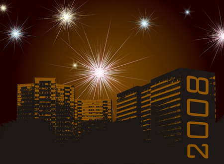fawkes: fireworks display for the new year set against a urban development Illustration