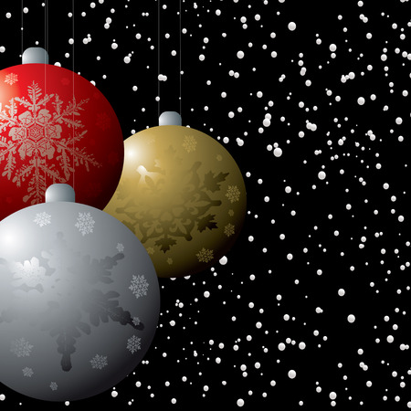 snow storm: christmas decorations in a snow storm on a black winters background