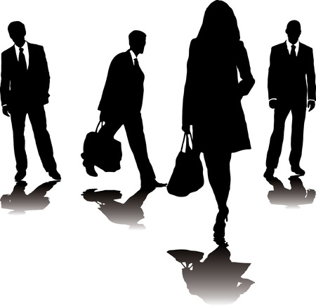 four business people in silhouette walking in different directions Vector