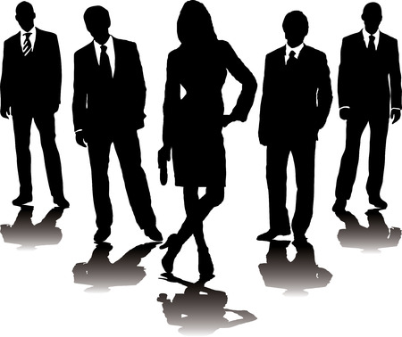 skirt suit: A collection of business people in mono silhouette with a gradient shadow