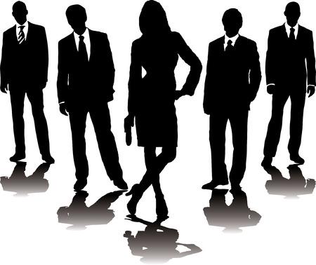 hooligan: Eine Auflistung von Gesch�ftsleuten in mono Silhouette mit einem Farbverlauf Schatten