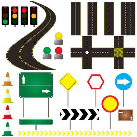 traffic control: colecci�n de las marcas viales y la se�al de que se puede utilizar en su propio dise�o Vectores