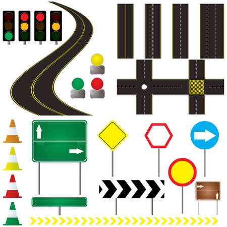 collection of road markings and sign that can be used in your own design Illustration