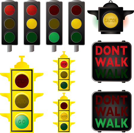 road works: Collection of traffic signals in different stages of changes