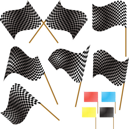 Illustrated checkered flag in different variations and colours Vector
