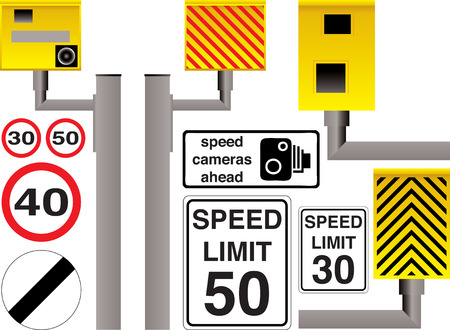 Illustrated speed camera selection with additional limit signs and warnings Stock Vector - 1861566
