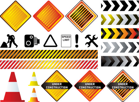 could: road work signs that could be used to show a web site is under construction