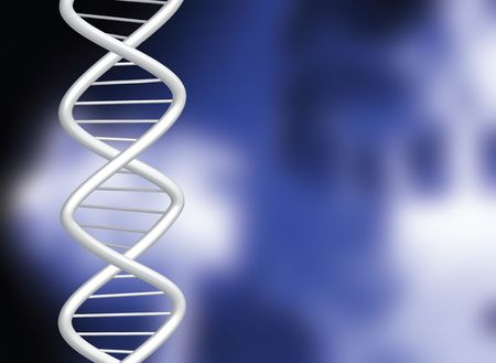hereditary: DNA over a blurred medical illustration in blue and black Stock Photo
