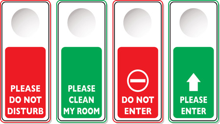 knocking: Do not disturb illustrations with four variations in green and red Illustration