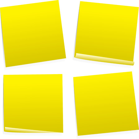 memory board: puesto que con cuatro notas variaci�n en color amarillo con espacio para agregar su propio texto  Vectores