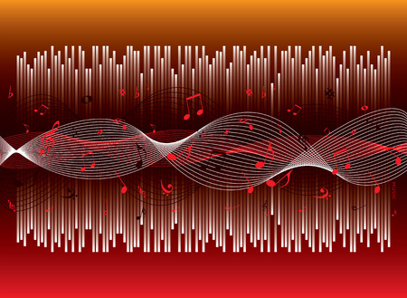 readout: Musical background with graphical readout on a hot orange and red backdrop Illustration