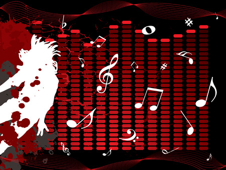 quaver: Musical illustration with notes and a man jumping on a black background Illustration