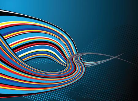 shafts: Hintergrund mit zwei Wellen der Regenbogen auf blauem Hintergrund illustriert