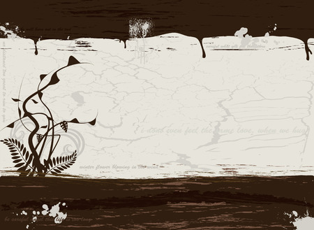 plenty: Grunge illustration in brown with plenty of copy space and a floral design
