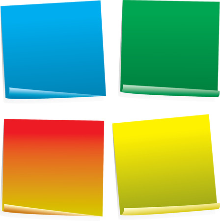 organized: Four color post it notes in different styles and angles
