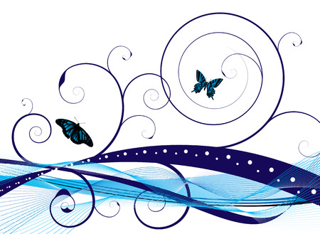 flapping: Natural background with an abstract style and floral designs with butterflys