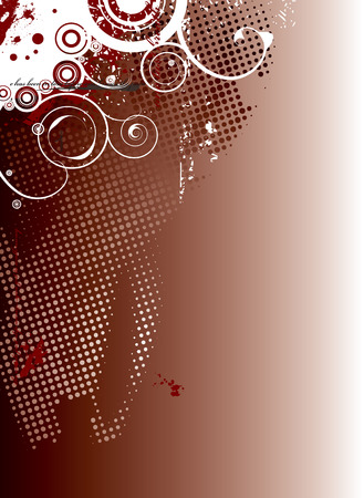 floral swirls: red and black background with halftone dots and floral swirls