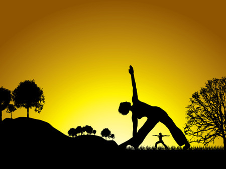 freedom couple: sun setting on a yoga session in the middle of a natural wonderland