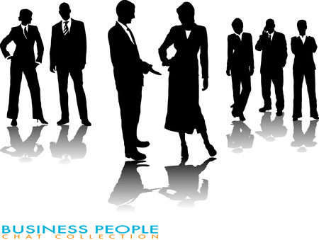 business people chatting in silhouette with a gradient shadow Vector