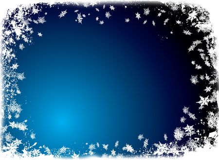 snow fall: christmas border theme with white snowflake and a ice blue background