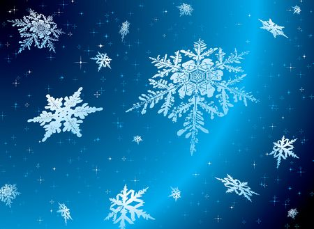 nights: Snowflake falling against a starry nights sky ideal christmas theme Stock Photo