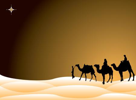 reyes magos: Tradicional navidad escena con los tres reyes a los camellos cruzan el desierto  Vectores