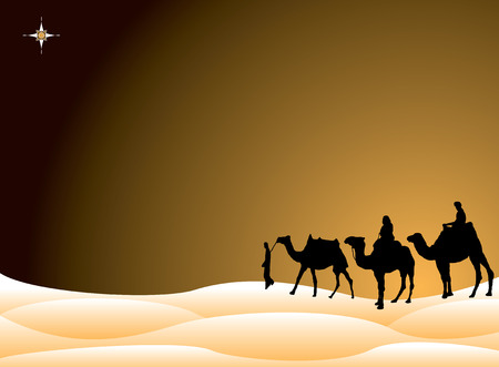 Traditional christmas scene with the three kings on camels crossing the desert Vector