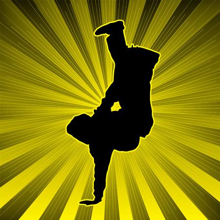 radiating: pattinatore su un ragazzo che irradia sfondo in giallo e nero Vettoriali
