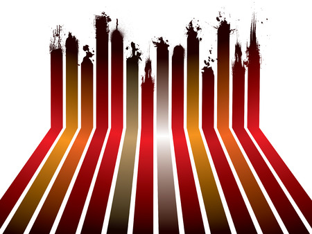 collection of red and orange ribbons with ink splats Vector