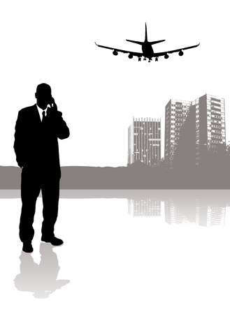 businessman talking: businessman talking on his phone while a plane flies over head