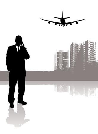 head phone: hombre de negocios hablando por su tel�fono mientras que un avi�n vuela sobre la cabeza