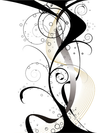 gothic black and gold design with a floral theme and flowing gold lines
