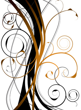 abstract orange and black background with a floral theme Vector