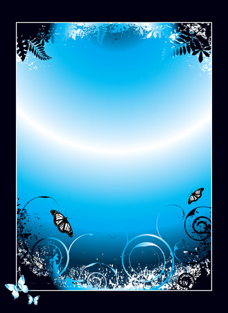 butterfly stroke: black and blue floral background with plenty of copy space
